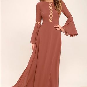 Lulu's Now is the Time Rusty Rose Long Maxi Dress
